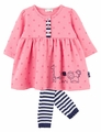 Le Top Baby Girls Pink Dot Zoo Animals Parade Dress with Navy Blue Stripe Footless Tights