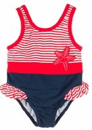 Le Top Baby Girls Red Stripes / Navy Blue Starfish Ruffle Swimsuit
