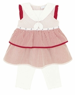 Le Top Baby Girls Red / White Stripes / Dots Sailor Dress with White Rib Pants