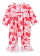 Le Top Baby Girls Rose Pink Sweet Roses Romper with Ruffle