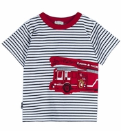 Le Top Baby / Toddler Boys Black Striped / Red Firetruck Shirt