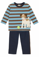 Le Top Baby / Toddler Boys Blue Stripe Puppy Dog Shirt with French Terry Pants