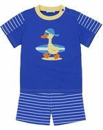 Le Top Baby / Toddler Boys Blue Striped Shorts with Surfer Dude Duck Shirt