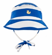 Le Top Baby / Toddler Boys Blue / White Striped Hat with Yellow Duck and Ties