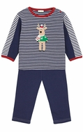 Le Top Baby / Toddler Boys Navy Blue French Terry Pants & Striped Christmas Reindeer Shirt