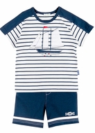Le Top Baby / Toddler Boys Navy Blue Striped Sailboat Shirt with Nautical Shorts