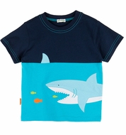 Le Top Baby / Toddler Boys Navy / Turquoise Blue Shark Shirt