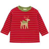 Le Top Baby / Toddler Boys Red Striped Waffle Weave Shirt with Tan Reindeer