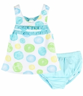 Le Top Baby / Toddler Girls Blue / Yellow / Green Confetti Dots Tankini Swimsuit