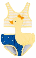 Le Top Baby / Toddler Girls Yellow Striped / Blue Dots Novelty Ducky Monokini Swimsuit