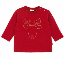 Le Top Boys Christmas Red Shirt with Rudolph Reindeer Stitched Outline