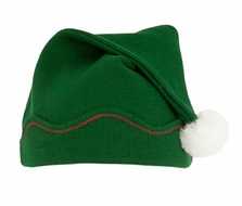Le Top Boys / Girls French Rib Long Hat with White Faux Fur Pom Pom - Forest Green