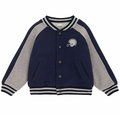 Le Top Boys Navy Blue Football Helmet French Terry Varsity Letter Jacket