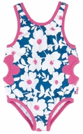 Le Top Girls Blue Blooms Floral Swimsuit with Hot Pink Flower Cut-Outs