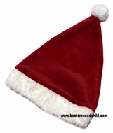 Le Top Girls / Boys Christmas Red Velour Santa Claus Hat with White Faux Fur Trim