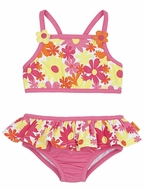Le Top Girls Bright Pink Awesome Blossom Floral Skirted Tankini Bathing Suit