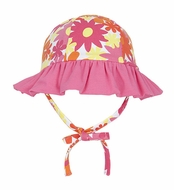 Le Top Girls Bright Pink Awesome Blossom Floral Sun Hat with Ruffle Brim