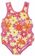 Le Top Girls Bright Pink Awesome Blossom Floral Swimsuit with Side Cut Outs