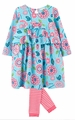 Le Top Girls Gigi's Garden French Blue Floral Dress & Pink Stripe Footless Tights
