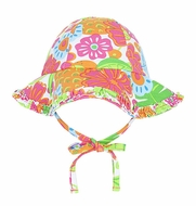 Le Top Girls Hawaiian Tropical Floral Print Sun Hat with Ties