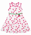 Le Top Infant Girls Hot Pink Cherries Dress With Bloomers