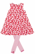 Le Top Girls Love Always Cherry Red / Pink Polka Dot Circle Dress with Striped Footless Tights