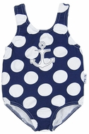 Le Top Girls Navy Blue / White Dots Anchor Swimsuit - One Piece