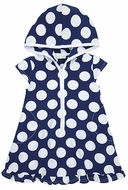 Le Top Girls Navy Blue / White Dots Cover Up Dress with Hood