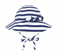 Le Top Girls Navy Blue / White Stripes Sun Hat with Bow