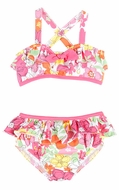 Le Top Girls Pink Crazy Daisy Floral Bikini Swimsuit with Ruffle