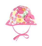 Le Top Girls Pink Crazy Daisy Floral Sun Hat with Bow and Ties