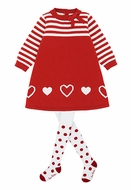 Le Top Girls Red A-Line Valentine Sweater Dress - Snowflake Hearts - Red Polka Dot Tights