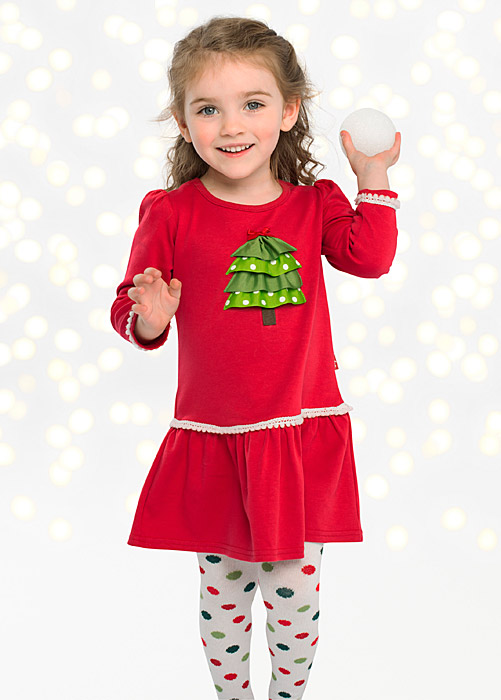 Le Top Girls Red Drop Waist Dress With Green Ribbon