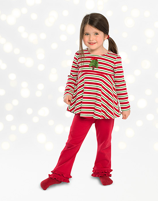 Le Top Girls Red Green Striped Flared Christmas Tree Top
