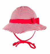 Le Top Girls Red Striped Sun Hat with Ties and Bow