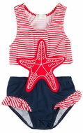 Le Top Girls Red Stripes / Navy Blue Starfish Monokini Bathing Suit