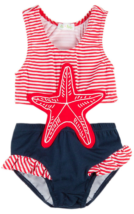 Le Top Girls Red Stripes Navy Blue Starfish Monokini