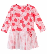 Le Top Girls Rose Pink Sweet Roses Drop Waist Dress with Tulle Overskirt