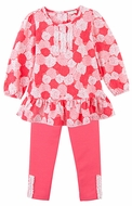 Le Top Girls Rose Pink Sweet Roses Tunic with French Terry Leggings