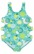 Le Top Girls Teal Green Dots Circle Time Bathing Suit with Side Cut Outs