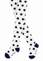 Le Top Girls Tights - White with Polka Dots - Navy Blue