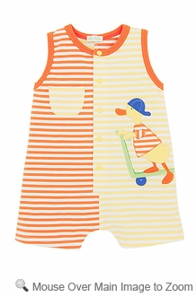 Le Top Infant Baby Boys Orange / Yellow Sleeveless Romper - Scooter Duck