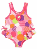 Le Top Infant Baby Girls Candy Pink Razzle Dazzle Dots Tank Swimsuit with Hip Ruffle