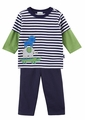Le Top Infant Boys Navy Blue French Terry Pants with Striped Zoo Animals Pyramid Shirt
