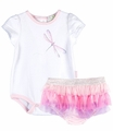Le Top Infant Girls Pink / Purple Tulle Ruffles Bloomers with Dragonfly Bodysuit Top