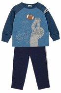 Le Top Infant / Toddler Boys Blue Football Quarterback Shirt with French Terry Pants