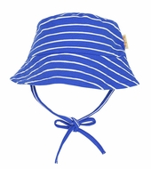 Le Top Infant / Toddler Boys Blue Striped Bucket Hat with Ties
