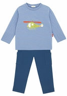 Le Top Infant / Toddler Boys Cadet Blue Rescue Helicopter Striped Shirt with 3D Doors & French Terry Pants