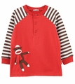Le Top Infant / Toddler Boys Garnet Red Sock Monkey Shirt