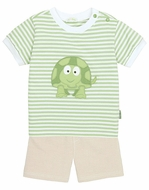 Le Top Infant / Toddler Boys Green Stripes Timmy Turtle Shirt with Tan French Terry Shorts